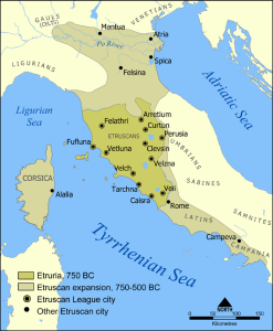 The spread of Etruscan style and civilisation.