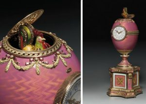 Enameled and Bejeweled Fabergé Egg with Clock and Rooster Automation by Dated 1902. Photo Courtesy of Christie's.