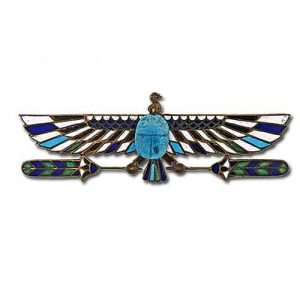 Egyptian Revival Faience and Enamel Scarab Pin.