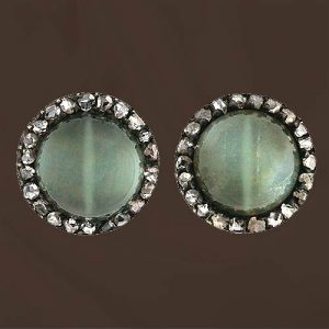 Victorian Cat's-Eye Orthoclase Feldspar and Diamond Earrings.