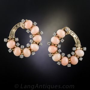 Mid-Century Hoop Style Coral and Diamond Ear Clips.