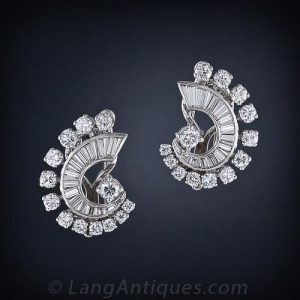 Mid-Century Convertible Diamond Earrings/Clip Brooches.