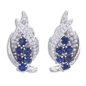 Mid-Century Sapphire and Diamond Ear Clips.