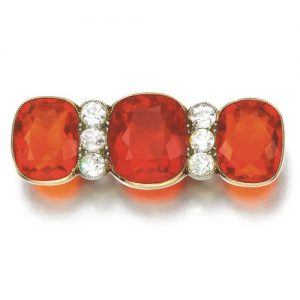 Edwardian Faceted Fire Opal Brooch. Photo courtesy of Sotheby's.
