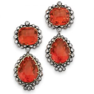 "Fire Opal and Diamond ""Top and Drop"" Earrings. Early 19th Century."