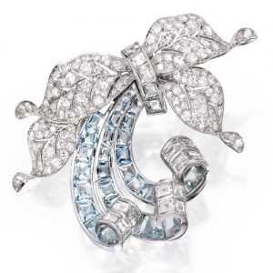 Flato Aquamarine & Diamond Brooch, c.1940. Photo Courtesy of Sotheby's.