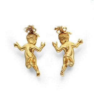 Pair of Flato Cherub Earclips. Photo Courtesy of Christie's.