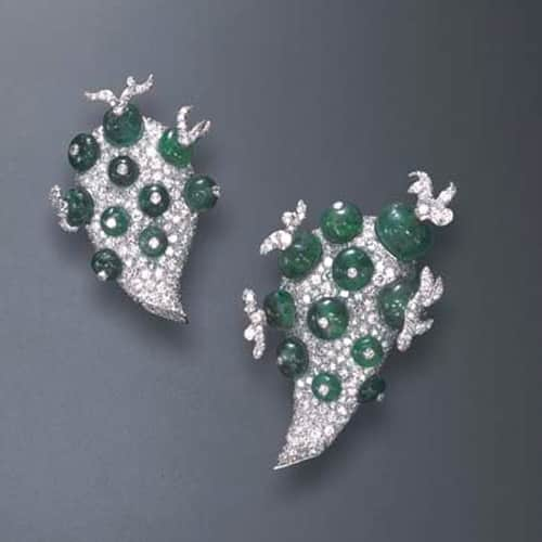 Flato_Emerald_Diamond_Clip_Brooches