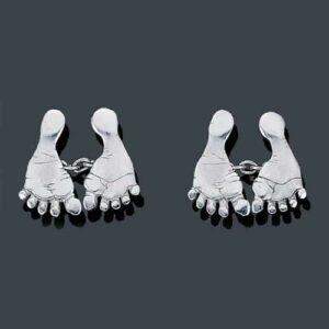 "Flato Platinum ""Footprint"" Cuff Links."