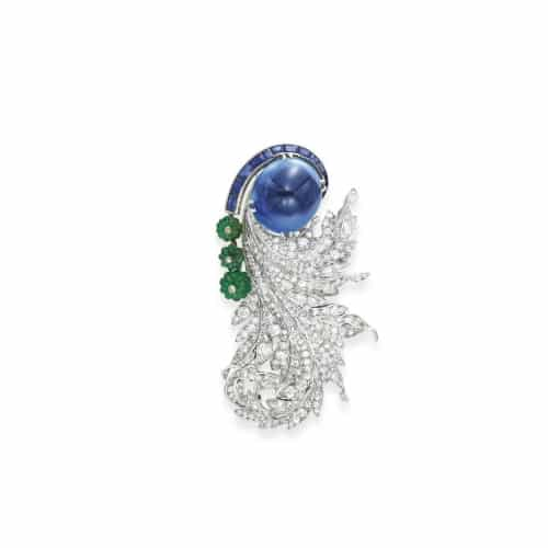 Flato Sapphire Diamond and Emerald Brooch.jpg