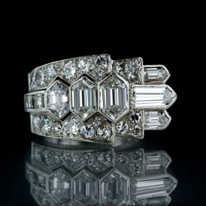 French, Hexagonal, Bullet, Square and European-Cut Diamond Art Deco Ring.