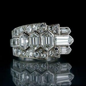 French, Hexagonal, Bullet, Square and European-Cut Diamond Art Deco Ring.