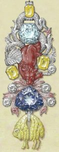 "2008 sketch of the Golden Fleece (of the Color Adornment) Showing the ""French Blue"" Diamond."