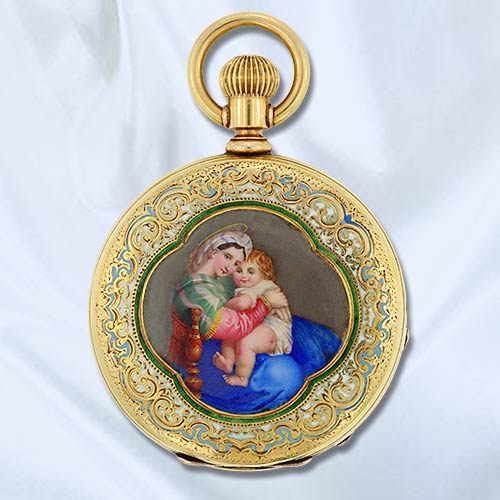 Tiffany & Co. Ladies Pocketwatch with Painted Enamel and Émail de Taille d'Epargé Highlights.