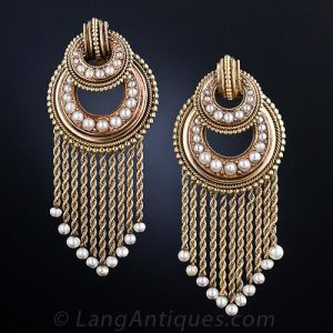 Pair of French Gold and Seed Pearl Fringe Earrings.