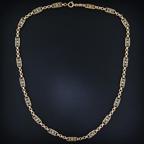 Late-Nineteenth Century French 18k Gold Chain Necklace.