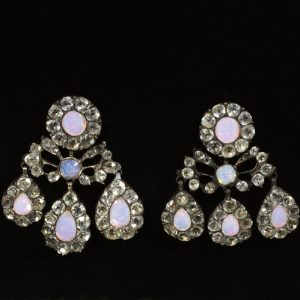 French Opaline Glass and Paste Silver Girondole Earrings. c.1760.