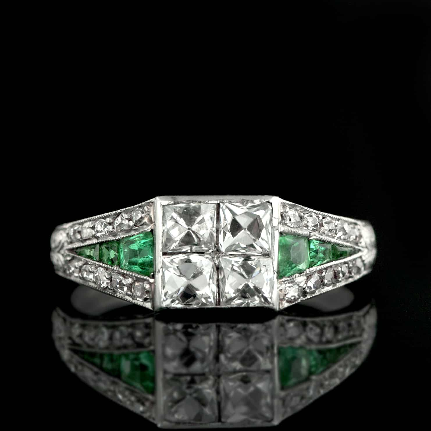 French cut diamonds in art deco ring
