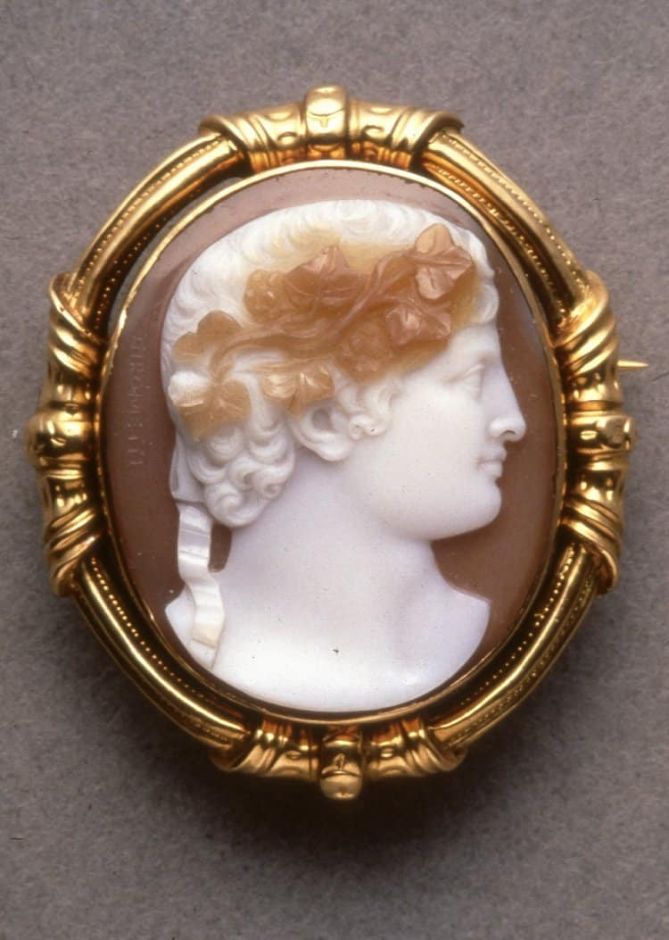 Portrait of Bacchus c.1840-50. Sardonyx. © Trustees of the British Museum.