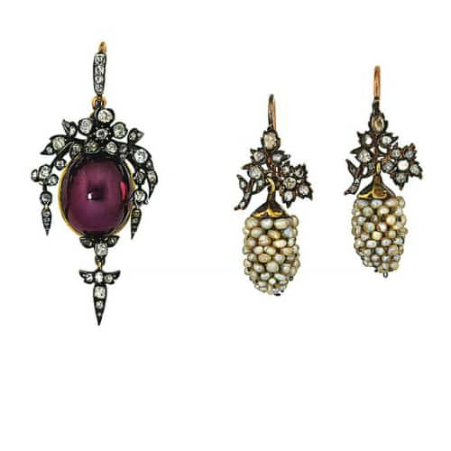 Garnet Diamond Pendant with Seed PearlEarrings 19th Century CH.jpg