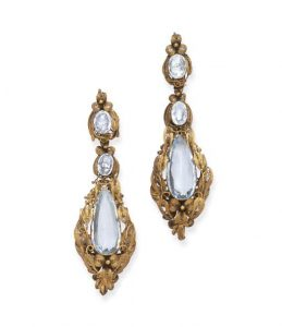 Pair of Garrard Georgian Aquamarine and Canetille Earrings c. 1820. Photo Courtesy of Christie's.