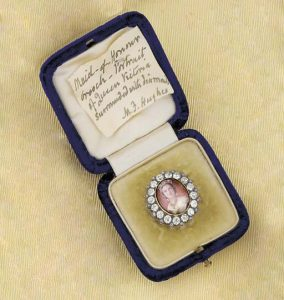 Maid-of-Honor Brooch with Portrait of Queen Victoria Within a Diamond Surround. Photo Courtesy of Christie's.