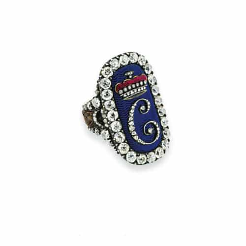 Georgian Blue Enamel Diamond Ring.jpg