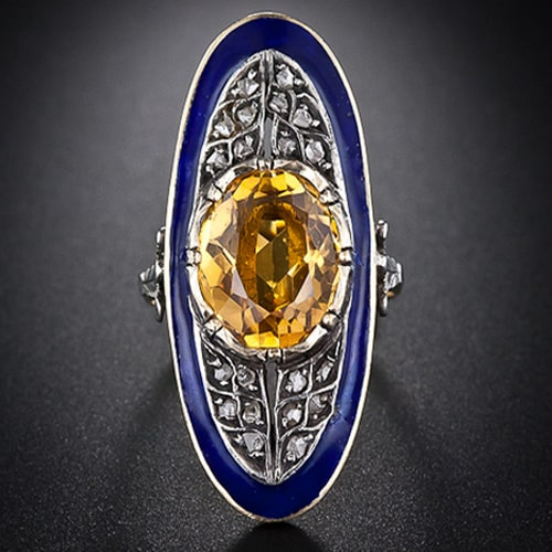 Georgian Citrine Enamel Diamond Ring.jpg