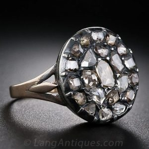 Georgian Diamond Cluster, Silver-Topped Rose Gold Engagement Ring.