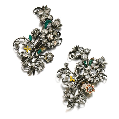 Georgian Diamond Enamel Floral Brooches.jpg
