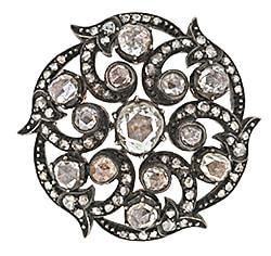 Georgian Diamond Swirl Brooch