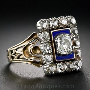 Georgian Diamond, Cobalt Blue Enamel, Silver and Yellow Gold Engagement Ring.