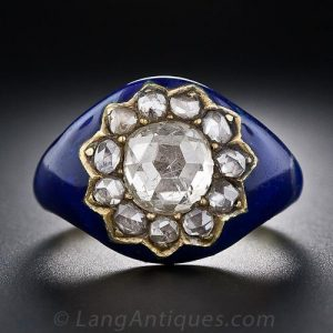 Georgian Diamond Engagement Ring Cobalt Blue Enamel. ©