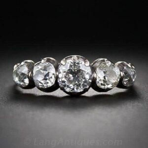 Georgian Five Stone Diamond Engagement Ring with Mine-Cut Diamonds.
