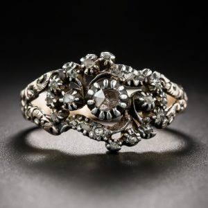 Georgian Rose-Cut Diamond Floral Engagement Ring.