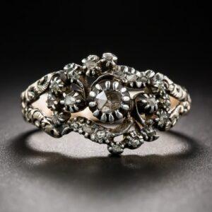 Georgian Rose-Cut Diamond Floral Engagement Ring.