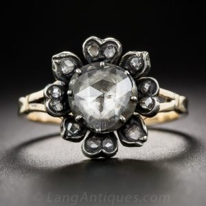 Georgian Floral Motif Rose-Cut Diamond, Silver-Toped Gold Engagement Ring.