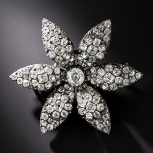 Georgian Diamond Flower Brooch.
