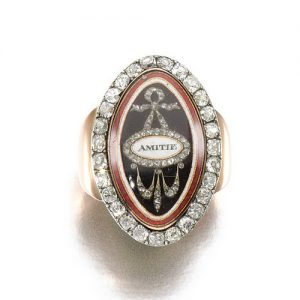 Georgian Memorial Ring with Guilloché and Opaque Enamel.Underside Featuring a Clear Compartment with a Lock of Hair.