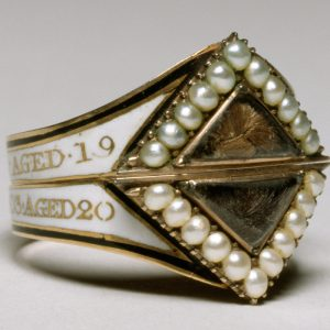 Georgian Mourning Ring of Two Unmarried Siblings as Indicated by the Use of White Enamel.
