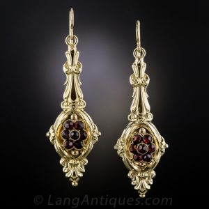 Georgian Repoussé Garnet Earrings c.1830.