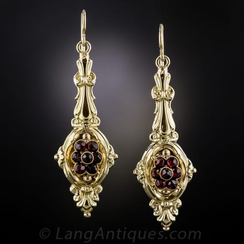 Georgian Repousse Garnet Earrings.jpg