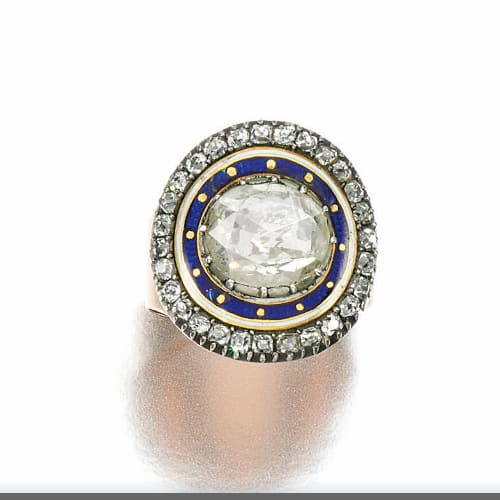 Georgian Rose Cut Diamond Enamel Mourning Ring.jpg