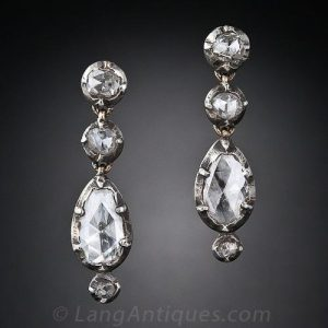 Georgian Rose Cut Diamond Silver Earrings. c.1800.