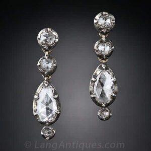 Georgian Rose Cut Diamond Silver Earrings. c.1800.