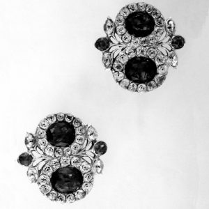 A Pair of Closed-Back Silver Ear-Rings Set with Green and Colourless Pastes.