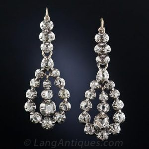 Late Georgian-Early Victorian Diamond Earrings. c.1820-1850.