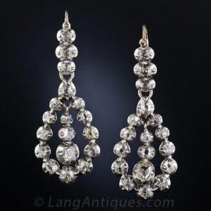 Late Georgian-Early Victorian Diamond Earrings. c.1820-1850.