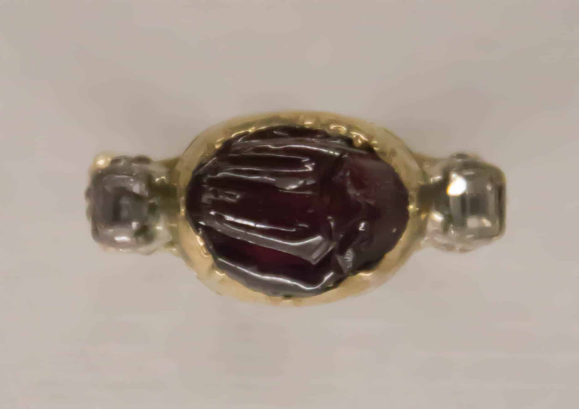 German Love Ring Mid 18th Cen Gold Diamonds Ruby.jpg