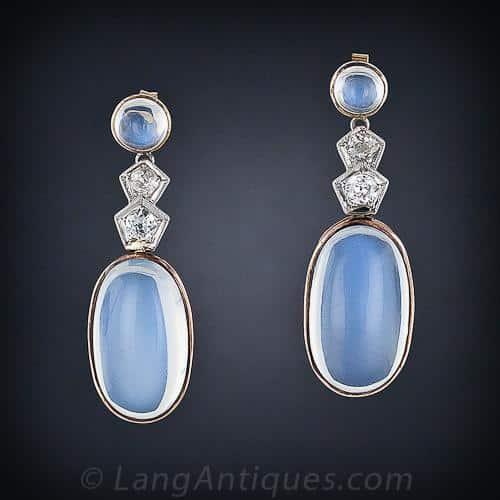 Pair of Moonstone Earrings Exhibiting Girasol.
